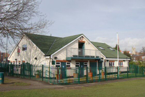 Photo of the sports pavilion in St. Georges Park, Rayleigh, Essex
